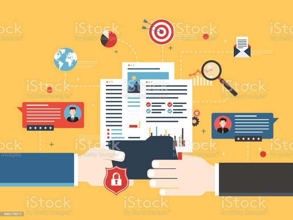 Transfer of confidential documents. vector art illustration