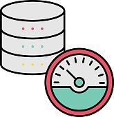 istock Transfer rate or High Performance Database Server For Big data Analytics Concept Vector Icon Design, Data Center and Web Hosting Symbol, IoT Web Server Based Gauge Meter stock illustration 1320976657