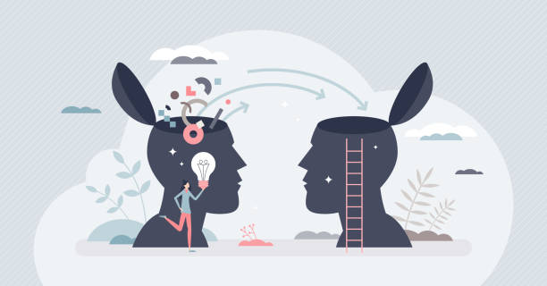 Transferring knowledge and information or skill teaching tiny person concept vector art illustration