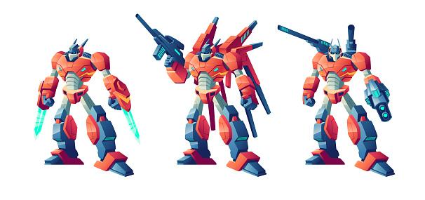 Transformer battle robots cartoon vector set