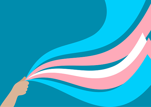 Illustration of a hand holding ribbons in the color of the transgender flag.