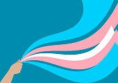 Transgender flag from ribbons