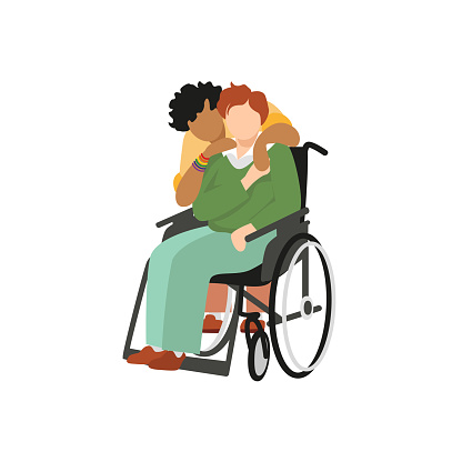 Transgender non-binary dark-skinned black-haired curly person warmly hugging a disabled red-haired fair-skinned partner sitting in wheelchair. Vector cartoon illustration isolated on white background