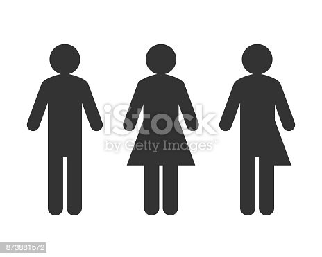 Male and female symbol with transgender or unisex pictogram as genderblend concept
