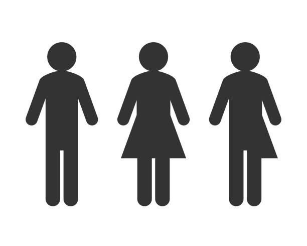 Transgender or unisex pictogram concept Male and female symbol with transgender or unisex pictogram as genderblend concept human representation stock illustrations