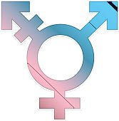 Transgender symbol, icon, pink and blue.