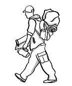 Rough sketch of a transient walking with a backpack, blanket and water bottle