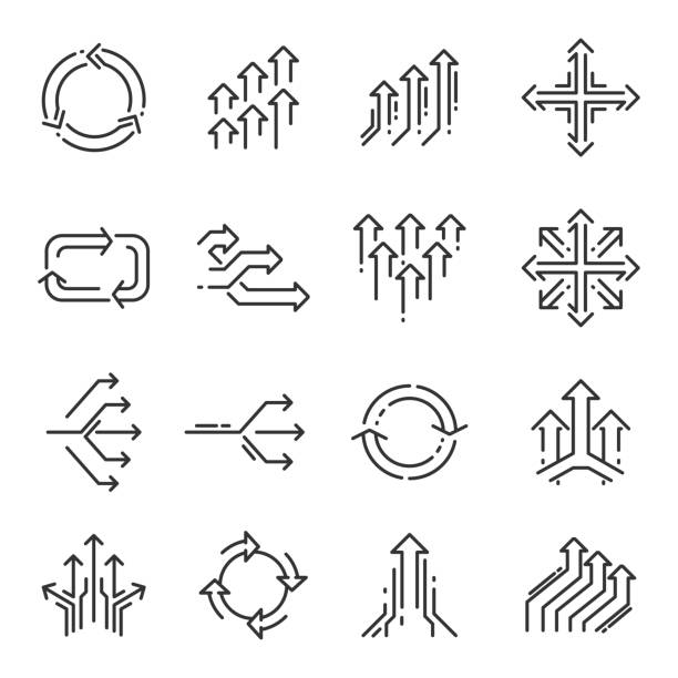 transition line icon set - repetition stock illustrations