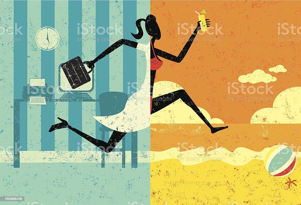 Transition to Vacation vector art illustration