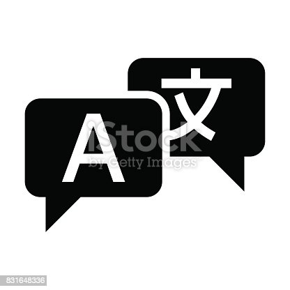 Translate icon vector. Translation from japanese to english flat icon