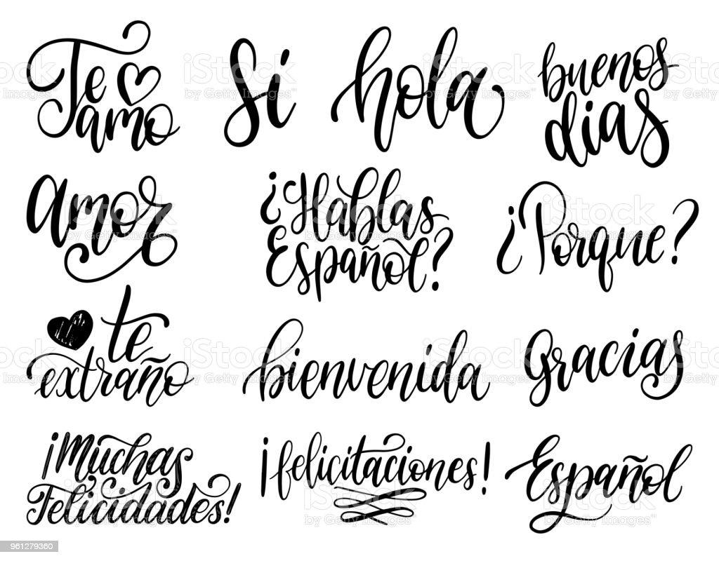 Traduit De Lespagnols Phrases Manuscrites Bienvenue Je Vous