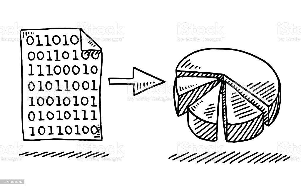 バイナリデータ変換するには、円グラフ図 ベクターアートイラスト