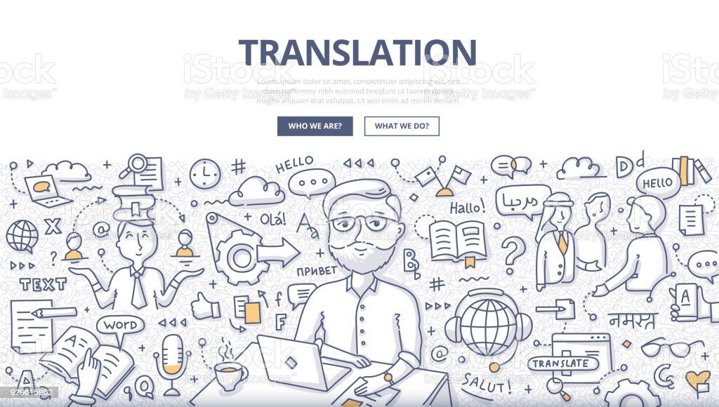 Übersetzung-Doodle-Konzept – Vektorgrafik