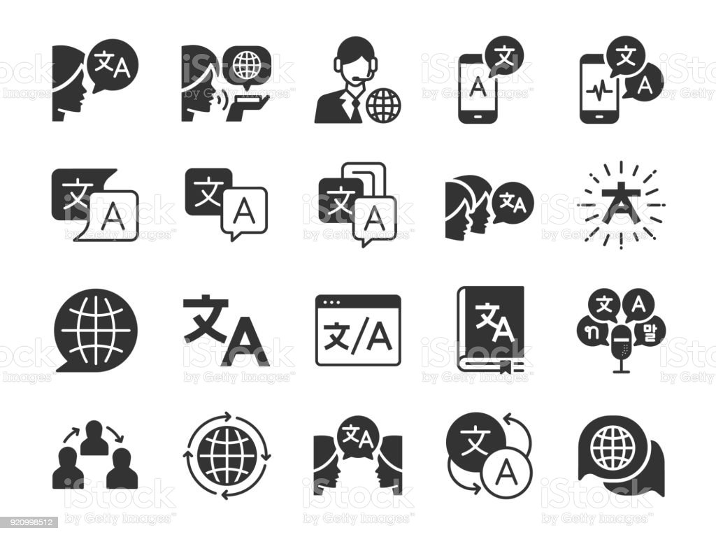 Translation icon set. Included the icons as translate, translator, language, bilingual, dictionary, communication, bi-racial and more. vector art illustration