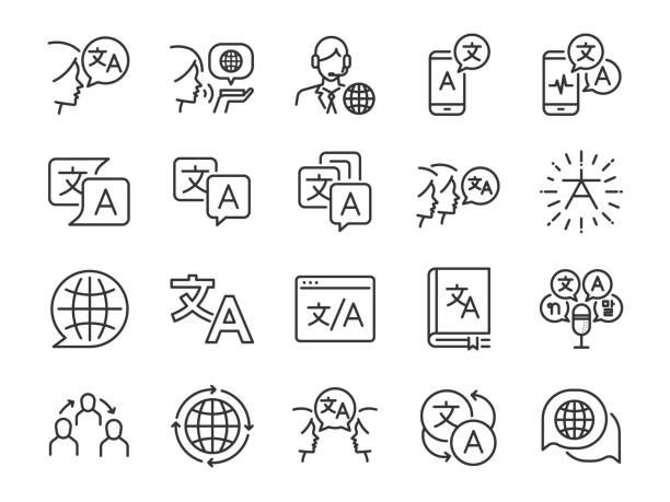 Translation line icon set. Included the icons as translate, translator, language, bilingual, dictionary, communication, bi-racial and more. Translation line icon set. Included the icons as translate, translator, language, bilingual, dictionary, communication, bi-racial and more. language stock illustrations