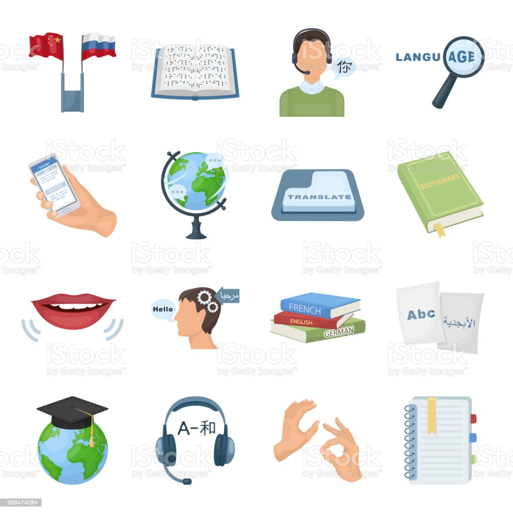 Translator And Linguist Cartoon Icons In Set Collection For Design