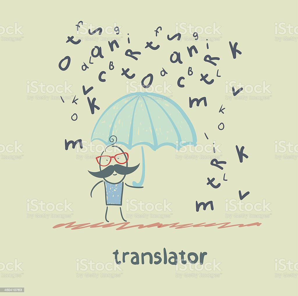 translator is faced with an umbrella royalty-free stock vector art