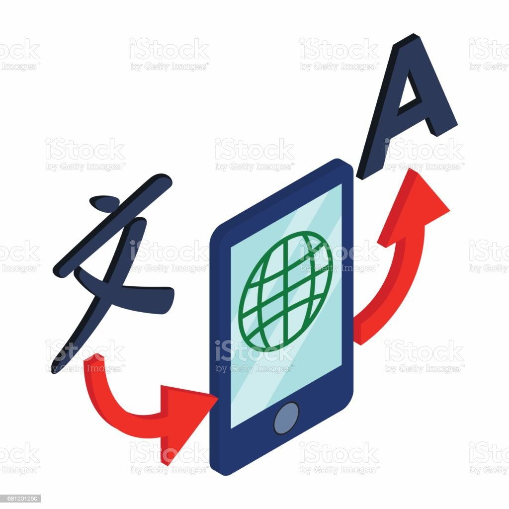 Translator smartphone icon, isometric 3d style royalty-free translator smartphone icon isometric 3d style stock vector art & more images of alphabet