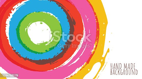 Vector abstract background. header format. Concentric hand made carefree circular brushstrokes of translucent paint. Layered file for easy editing.