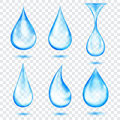 Set of translucent drops in light blue colors, isolated on transparent background. Transparency only in vector format