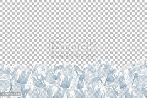 Translucent snow with ice. Vector illustration. Transparent pattern.