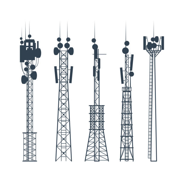 Transmission cellular towers, satellite communication antenna silhouette, of radio signal tower Transmission cellular towers, satellite communication antenna silhouette, of radio signal tower tower stock illustrations