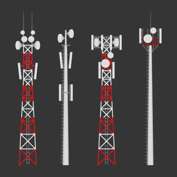 Transmission cellular wireless towers vector set Transmission cellular towers vector set. Mobile communications tower with satellite communication antennas. Radio tower for wireless connections. tower stock illustrations