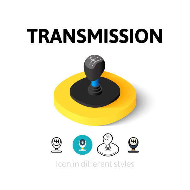 Transmission icon in different style Transmission icon, vector symbol in flat, outline and isometric style gearshift stock illustrations