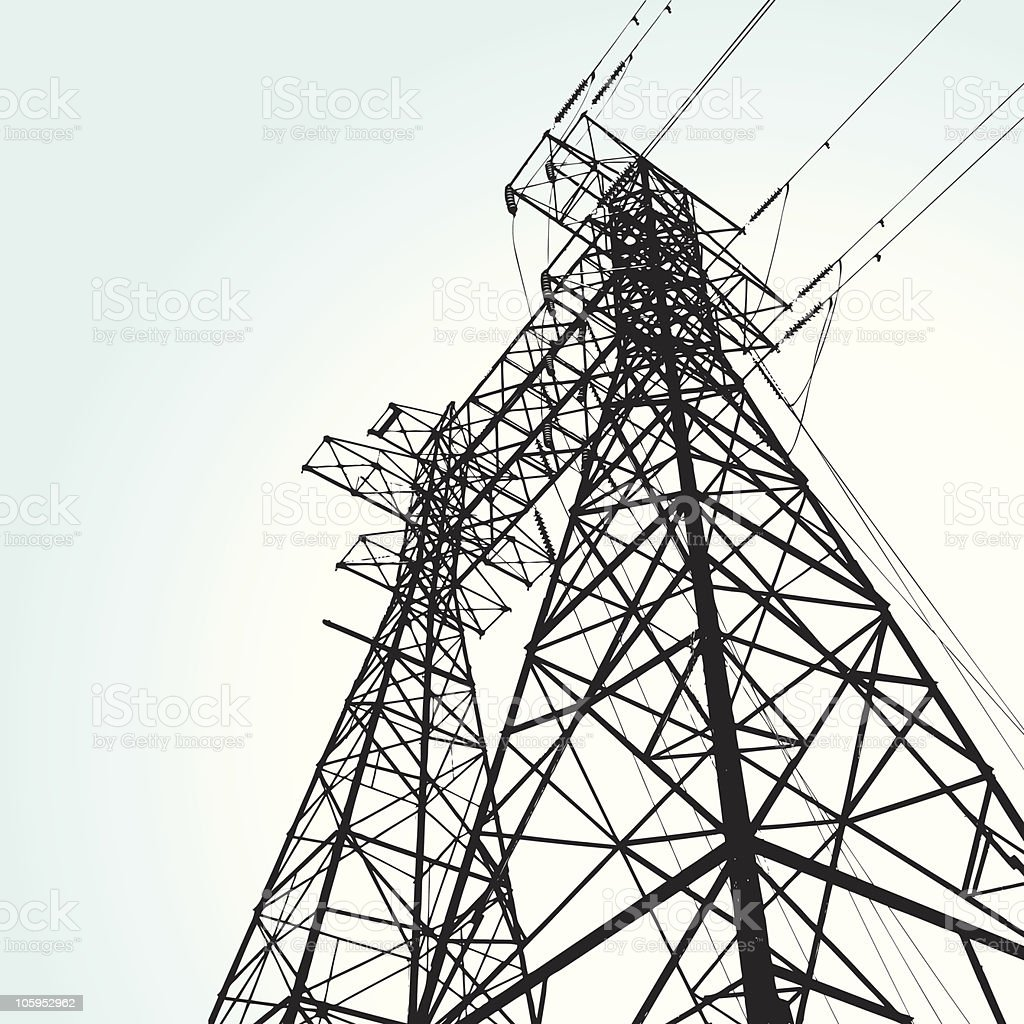 transmission tower vector art illustration