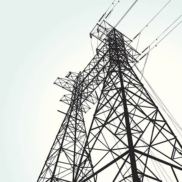 transmission tower vector illustration of a transmission tower communications tower stock illustrations