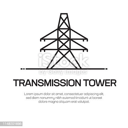 Transmission Tower Vector Line Icon - Simple Thin Line Icon, Premium Quality Design Element