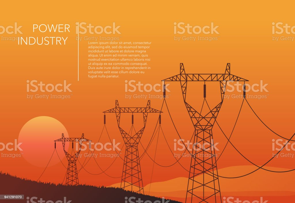 Transmission towers orange landscape background vector vector art illustration