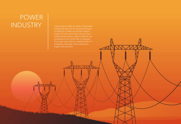 illustrazioni stock, clip art, cartoni animati e icone di tendenza di transmission towers orange landscape background vector - vitalità