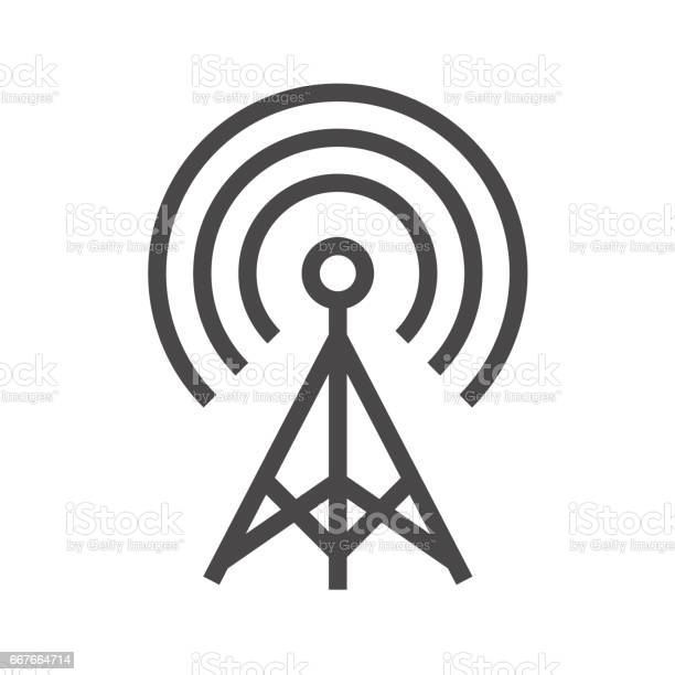 Transmiter Thin Line Vector Icon Stock Illustration - Download Image Now