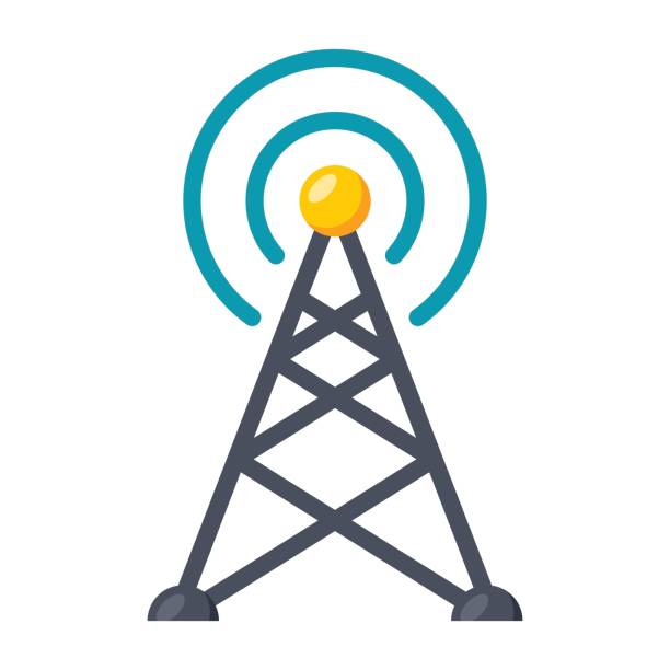 Transmitter tower icon Transmitter tower or antenna, vector icon in flat style repeater tower stock illustrations