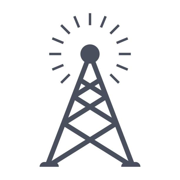 Transmitter tower icon Transmitter tower or antenna, black vector silhouette repeater tower stock illustrations