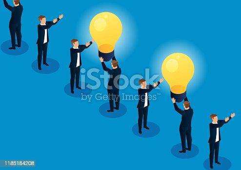 istock Transmitting light bulbs between merchants 1185184208