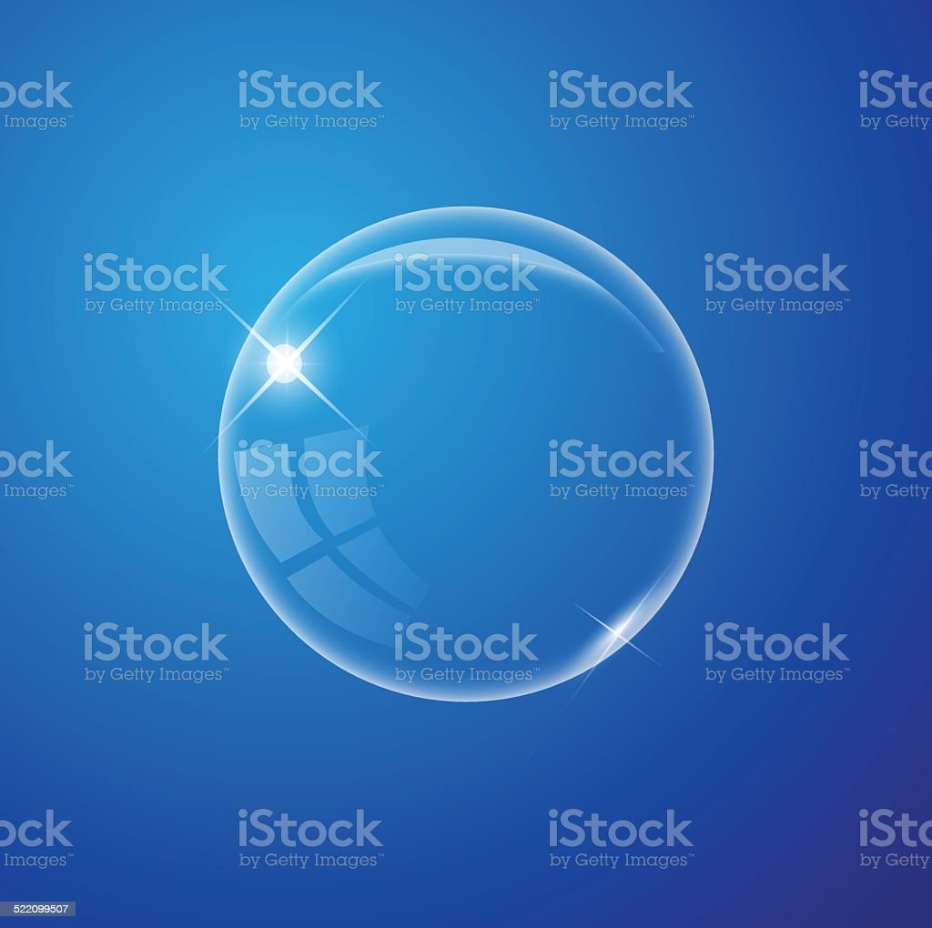 Transparent air bubble on the blue background vector vector art illustration