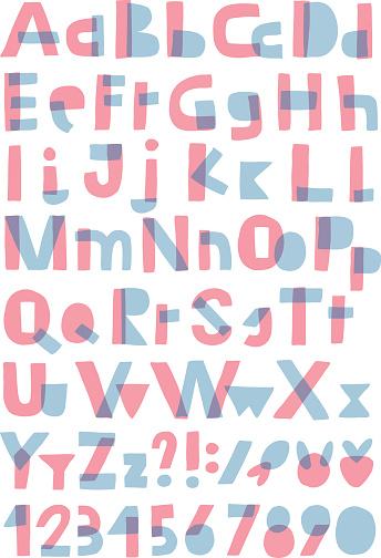 Transparent alphabet isolated on white background