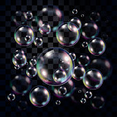Transparent and multicolored soap bubbles over dark background, editable vector for usage over your own background