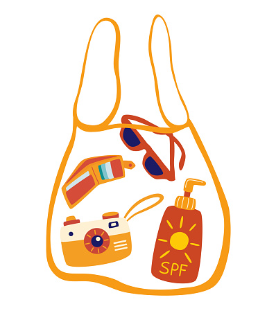 Transparent bag with beach accessories. Sunscreen, glasses, camera, wallet. Summer vibes. Cute accessories for summer holiday. Vector illustration in cartoon style.