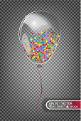 2018 transparent balloon made of glass on a transparent background. Elements of Christmas decorations. Transparent vector object for design, layout. Glossy toy with air inside. Isolated object.