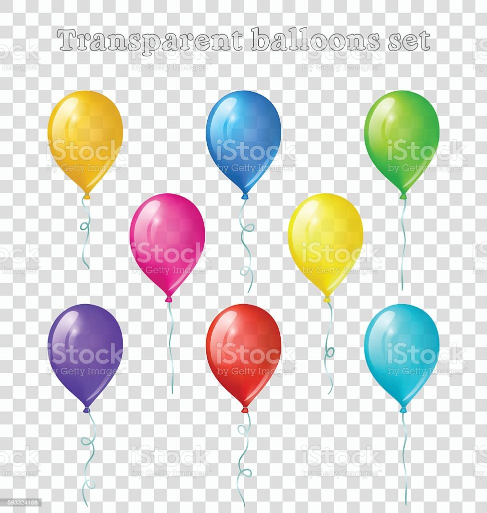 Transparent balloons set vector art illustration