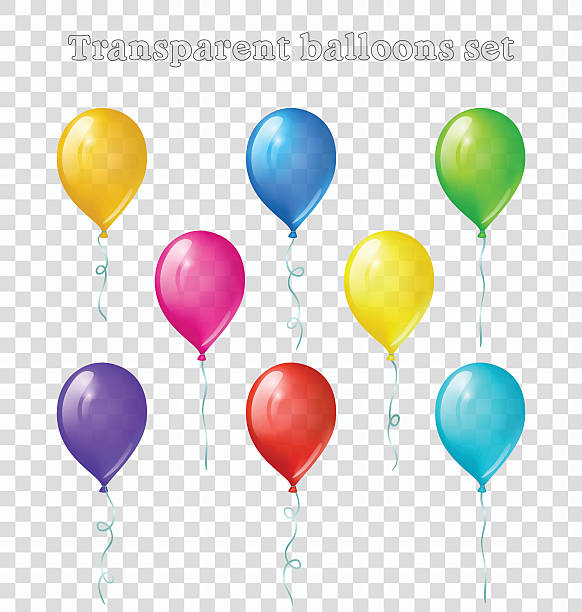 Transparent balloons set Set of eight bright colored transparent balloons hot air balloon stock illustrations
