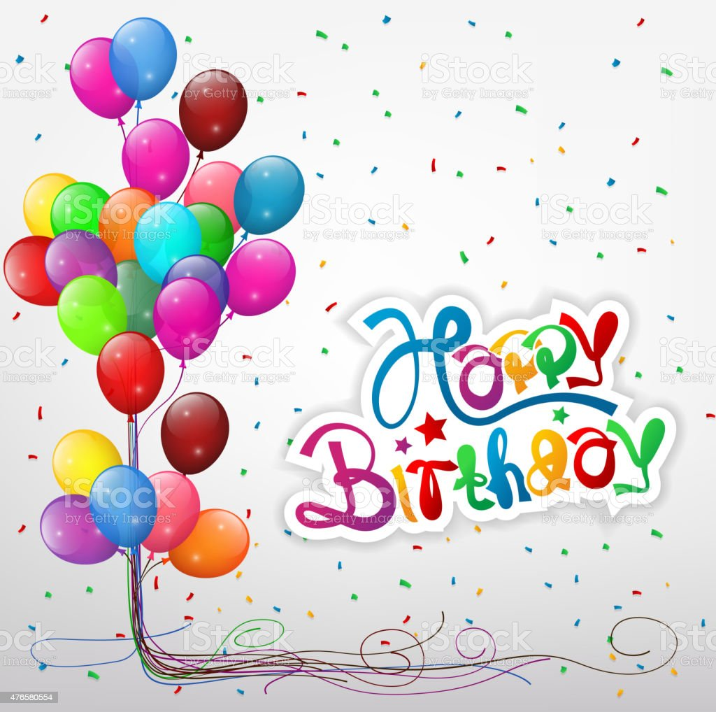 transparent balloons with streamer and happy birthday text royalty free transparent balloons with streamer and