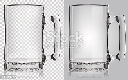 Transparent beer mug.