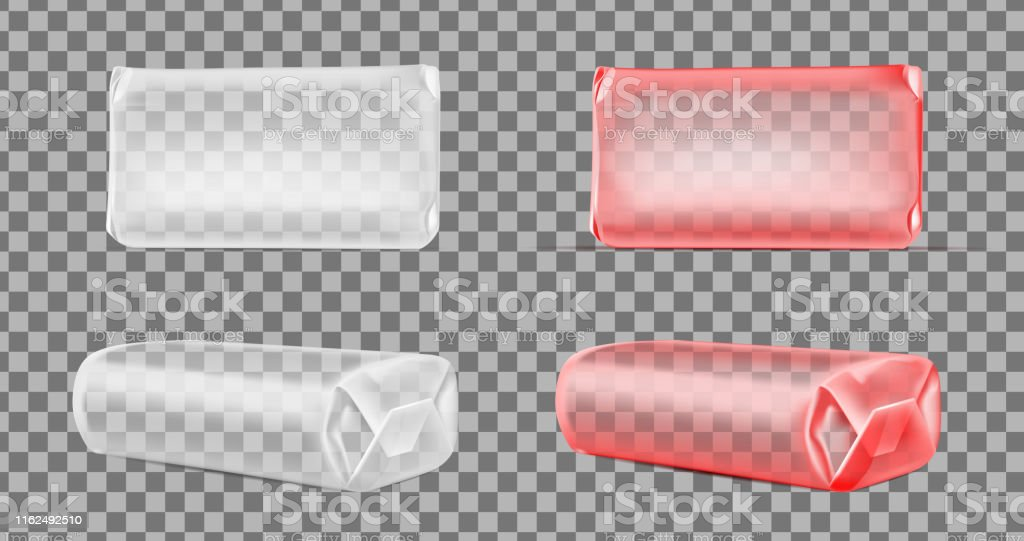 Transparent blank foil or paper packaging isolated on white...