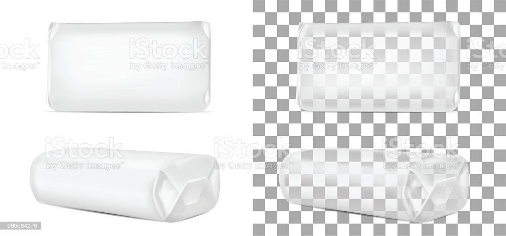 Transparent blank packaging isolated on white background. Sachet vector art illustration