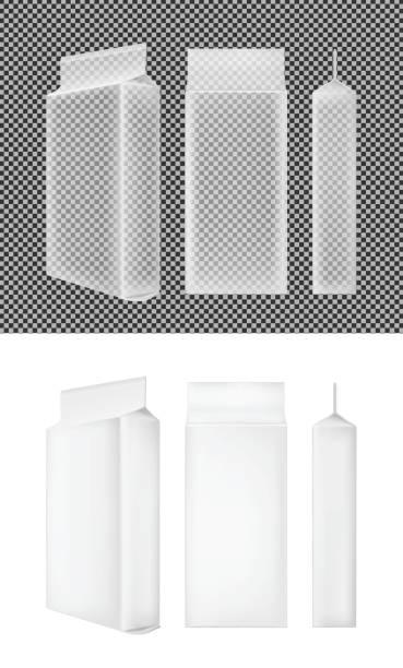 transparente verpackungen aus kunststoff oder papier. beutet für brot, kaffee, süßigkeiten, kekse und geschenk - vakuumverpackung stock-grafiken, -clipart, -cartoons und -symbole