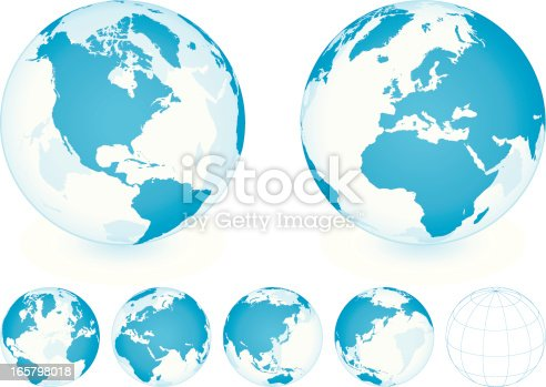 Transparent Blue Globe Set on white background with different planet positions. Additional Zip file contains: .AI(8), PDF and High res JPEG.